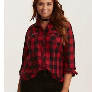Torrid Red & Black Buffalo Plaid Botton Down Shirt